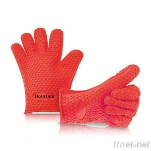 HornTide Heat Resistant Silicone Gloves Five-Fingered Grip