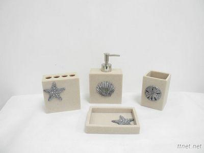 4Pcs Elegant Polyresin Bathroom Accessory