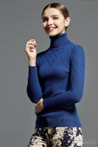 Women'S Pullover Sweater Women Knitwear (95%Cotton 5%Cashmere) Fine Gauge Sweater Textured Turtleneck Sweater