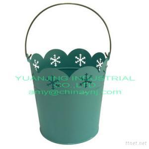New Garden Metal Pail Flower Bucket With Cut Out For Christamas Decor
