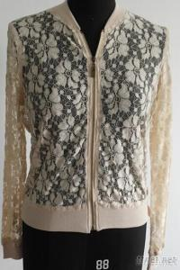 Women Zipper Lace Cardigan Sweater