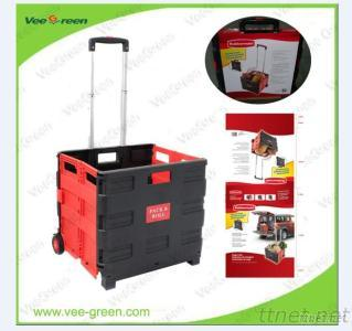 Plastic Folding Grocery Shopping Cart With Telescopic Handle
