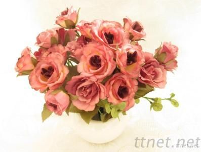 Artificial Rose Bunch In Dark Pink