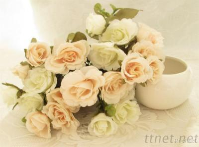 Artificial Rose Bunch In Cream