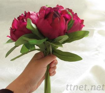Artificial Peony Bouquet Dark Red