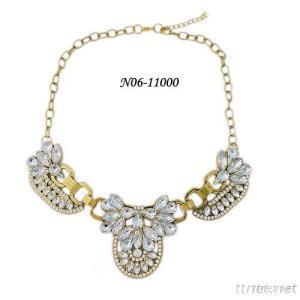 2015 Fashion Crystal Necklace With Antic Bronze Plated And Short Size