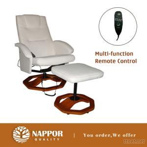 Ivory Recliner Swivel Massage Chair and Footstool