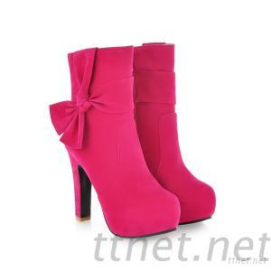 2013 Women'S High-Heeled Women'S Boots Bow Pink Zipper Martin Boots Winter Round In The Tube