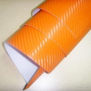 Orange 3D Carbon Vinyl Wrap
