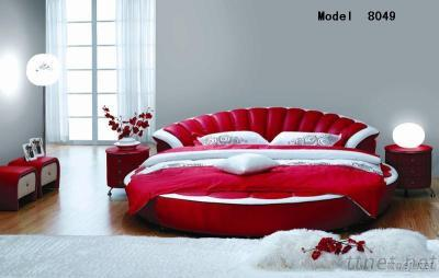 Red Round  Bed/ Leather Soft Bed