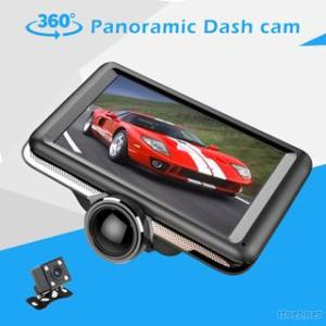 IPS Touch Screen 360 Degree Panoramic Dash Cam 1080P Fhd Dual Lens Car Camera Dvr Video Recorder