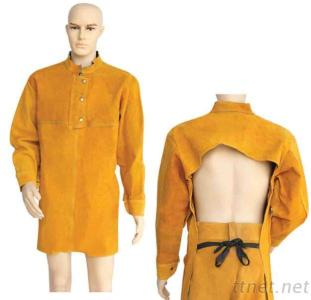 Yellow Cowhide Lether Back Open Splash-Resistant Welding Clothes