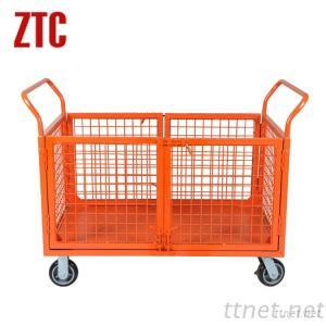 Four Mesh Sides Platform Trolley, Mobile Industrial Flatbed Hand Trolley RCA-013