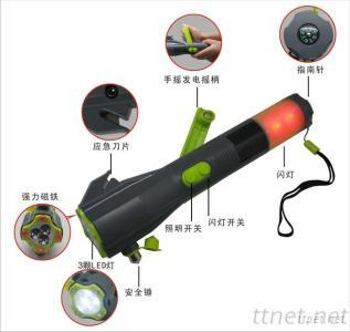 rechargeable  led Flashlight torch lamp with Versatile Auto 8 in 1  Hand Crank Dynamo led light