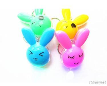 Rabbit Led Color Flash Light Keychain With Perfume Inside