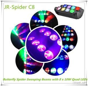 Butterfly Spider Sweeping Beams with 8 x 10W Quad LEDs
