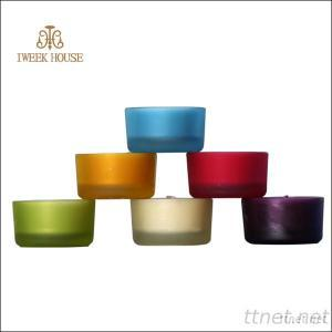 Scented Colorful Aroma Glass Wax Candles In Small Frosted Glass Cup