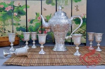 Silver Wine Sets - Wine Pot Wine cups -More Sons More Blessing Wine Set