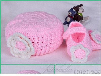 Baby Shoes And Baby Hat Kintted Pink Hat Kint Flower Kid Kintting Wear