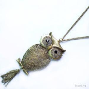 Casted Owl Pendant Necklace