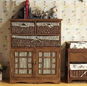 Wooden Storage Cabinet, Wood Cabinet With Woven Basket