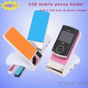 Foldable Mobile Phone Stand With USB Hub
