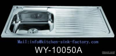 WY-10050 Stainless Steel Single Bowl Kitchen Sink With Drain Board