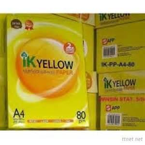 IK Yellow Multipurpose Copy Paper A4 210Mm X 297Mm, Letter & Legal Sizes 80Gsm 75Gsm 70Gsm 100% Wood Pulp Photo Copy Papers