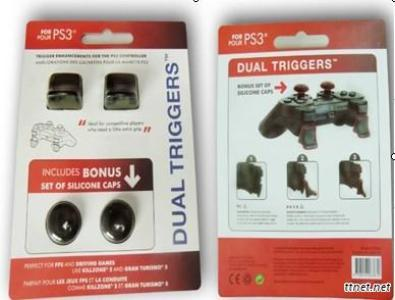 Dual triggers with bonus silicone caps for PS3 controlle