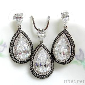 Fashion Jewelry Clear Cubic Zirconia Pendant And Earrings Set