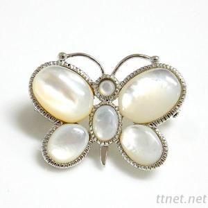 White Shell Butterfly Brooch