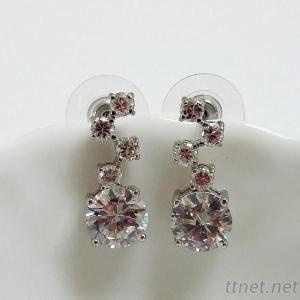 Round CZ Wedding Bridal Earrings