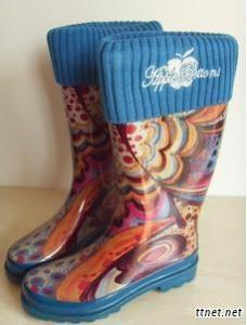 Cheap and Fashionable Women Rain Boots--Flower Thicker