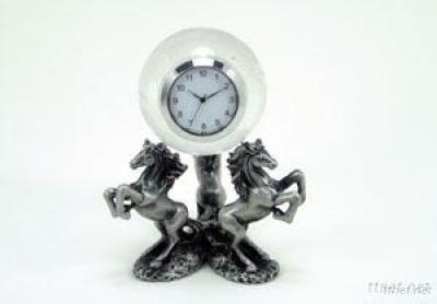 Pewter Horse Clock W/Crystal Globe Clock