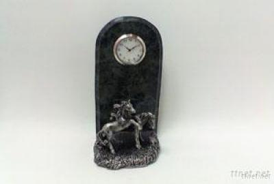 Marble Clock W/Pewter Horse