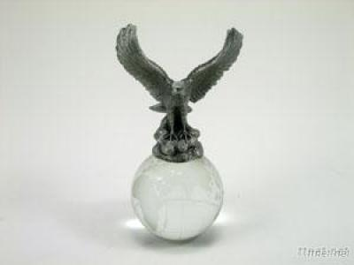 Pewter Paperweight W/Crystal Ball