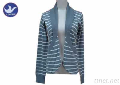 Stripes Knitted Cardigan Pockets Sweater