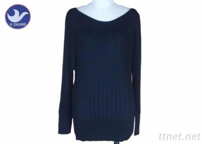 Lady Boat Neck Ribs Knitted Pullover Sweater