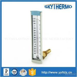 Industrial Metal V-Shaped 90 Degree Angle Glass Theory Thermometer