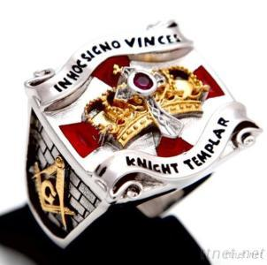 High Quality Knight Templar Masonic Ring, Signet Real Rings