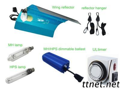Grow light kit with wing reflector