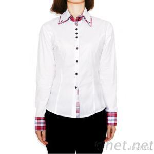 Double Collar Stretch Poplin Long Sleeve Women's Casual Shirt