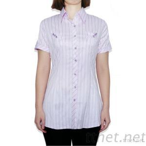 Long Vertical Stripes Short Sleeve Women's Casual CVC Shirt