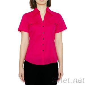 V-neck Pocket Women's Casual Stretch Poplin Shirt With Short Sleeves