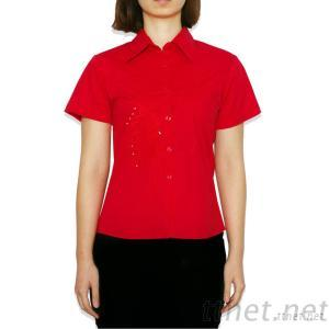 Embroidered Women's Casual Stretch Poplin Shirt With Short Sleeves