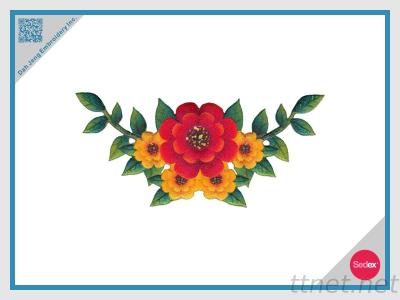 Embroidery With Sublimation Flower Design Patch