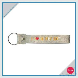 Embroidery Key Ring - I LOVE MY CAT