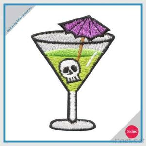 Recycled Fabric & Thread - Cocktail Glass Skull Head