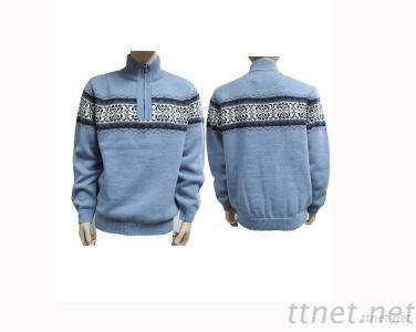 Men'S Zip Pullover Sweater With Jacquard