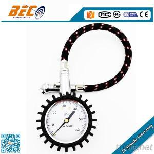 High Quality Tyre Pressure Gauge With Hose For Truck, Car, Motorcycle Or Bike